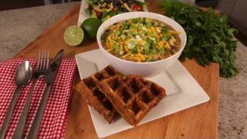 Cheddar Jalapeno Cornbread Waffles with Chicken Tortilla Soup